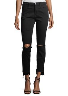 FRAME Le High Mid-Rise Raw Stagger-Hem Skinny-Leg Jeans