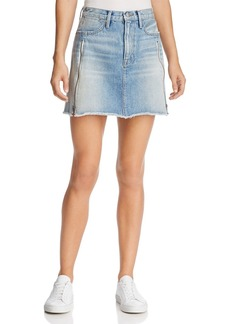 FRAME Le High Mini A-line Zip Denim Skirt