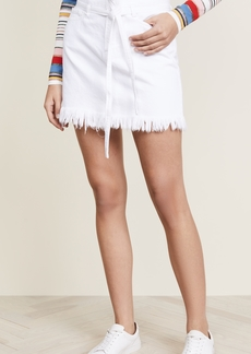 FRAME Le High Mini Belted Skirt with Raw Hem