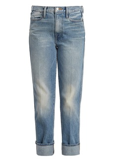 Frame Le High oversized-cuff straight-leg jeans
