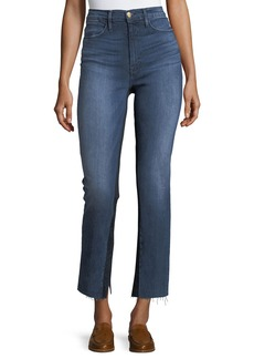 FRAME Le High Raw-Edge Split Straight-Leg Jeans