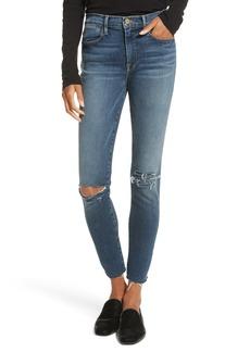 FRAME Le High Raw Hem Skinny Jeans