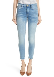 FRAME Le High Raw Hem Skinny Jeans (Sand Dollar)