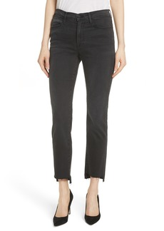 FRAME Le High Raw Stagger Straight Jeans (Mallard)