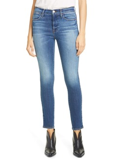 FRAME Le High Released Tuxedo Stripe Skinny Jeans (Lupin)