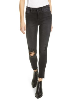 FRAME Le High Ripped Raw Hem Crop Skinny Jeans (Brisbane Rips)