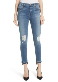 FRAME Le High Ripped Released Hem Skinny Jeans (Hermitage)