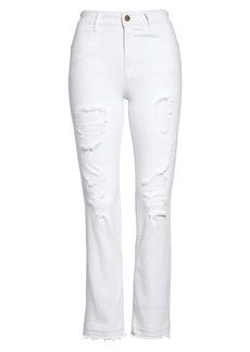 FRAME Le High Ripped Straight Leg Jeans (Blanc)