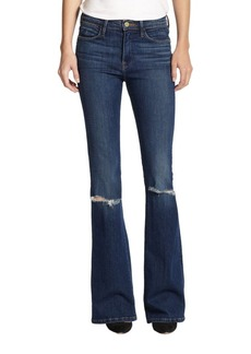 FRAME Le High-Rise Distressed Flared Jeans