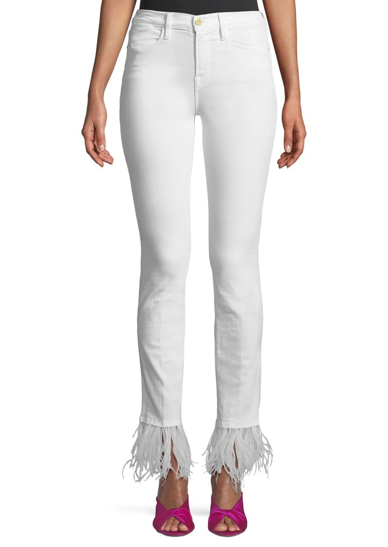 FRAME Le High-Rise Straight-Leg Jeans with Feather Hem