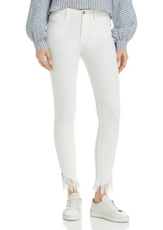 FRAME Le High Shredded Raw-Edge Skinny Jeans in Blanc