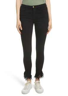 FRAME Le High Shredded Skinny Jeans (Film Noir)