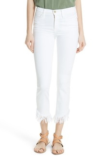FRAME Le High Shredded Straight Leg Jeans (Blanc)