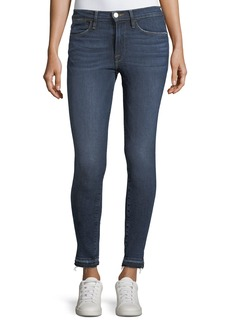 FRAME Le High Side-Slit Skinny-Leg Jeans w/ Released Hem