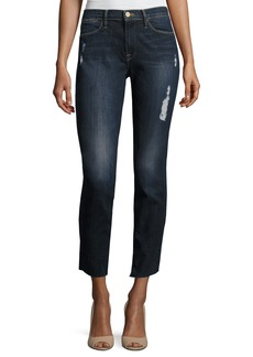 FRAME Le High Skinny Crop Cascade Hem Jeans