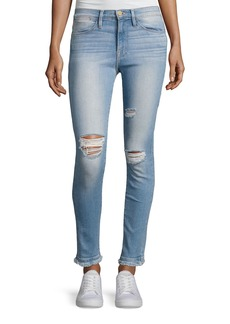 FRAME Le High Skinny Double Raw-Edge Jeans