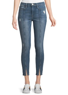 FRAME Le High Skinny Felt Split Distressed Cropped Jeans
