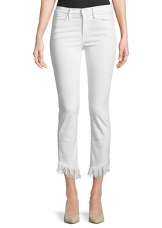 FRAME Le High Skinny Jeans w/ Shredded Raw Hem