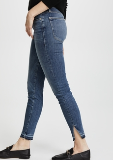 FRAME Le High Skinny Jeans with Raw Triangle Cut Hem