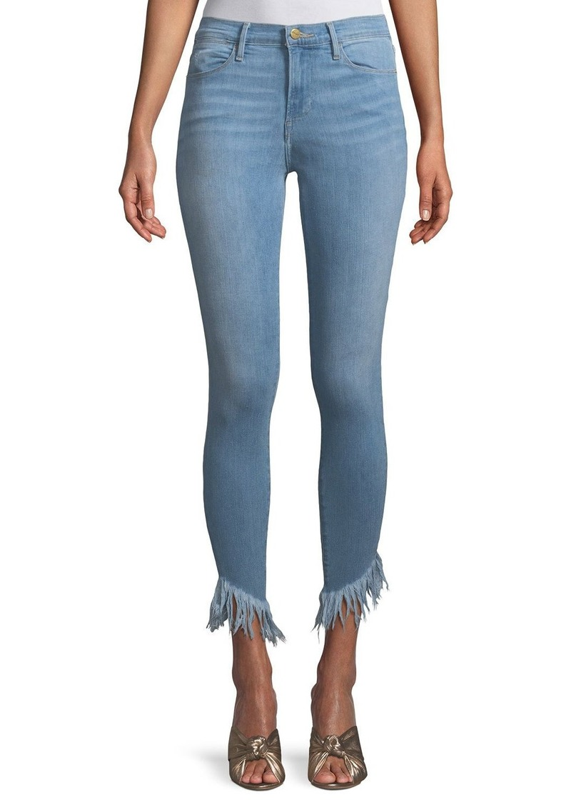 FRAME Le High Skinny Jeans with Shredded Hem