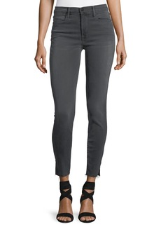 FRAME Le High Skinny-Leg Jeans with Raw-Edge Slit