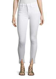 FRAME Le High Skinny-Leg Jeans with Raw Front Slit