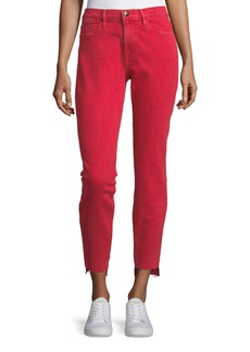 FRAME Le High Skinny-Leg Jeans with Raw Stagger Hem