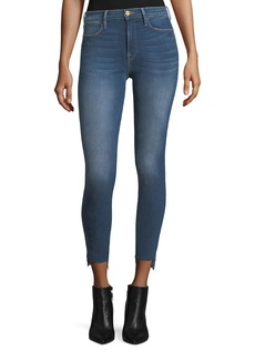 FRAME Le High Skinny Raw-Edge Stagger-Hem Jeans