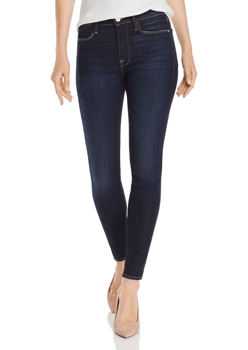 FRAME Le High Skinny Outseam Slit Jeans in Copa