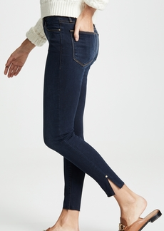 FRAME Le High Skinny Raw Edge Slit Rivet Jeans