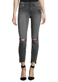 FRAME Le High Skinny Raw Stagger-Hem Jeans