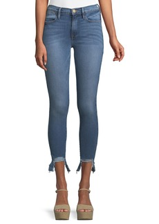 FRAME Le High Skinny Stiletto Frayed Cropped Jeans