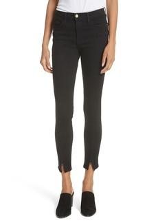 FRAME Le High Split Hem Skinny Jeans (Film Noir)