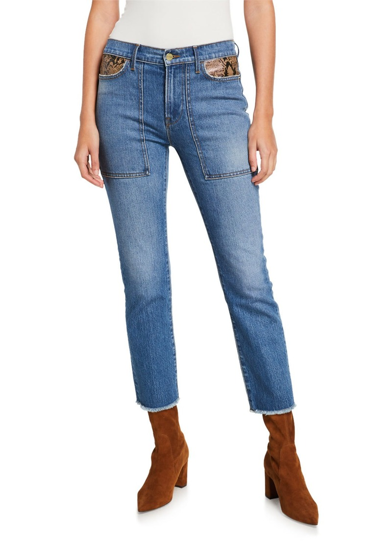 FRAME Le High Straight Ankle Jeans with Python Patchwork