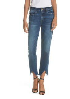 FRAME Le High Straight Asymmetrical Hem Jeans (Kingsway)