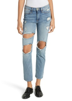 FRAME Le High Straight Destroyed Crop Jeans (Le Debs)