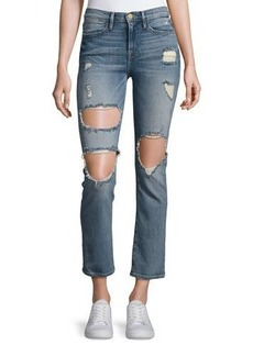 FRAME Le High Straight Distressed Jeans