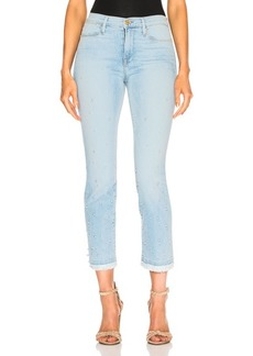FRAME Le High Straight Double Frayed Hem Pearl Jean
