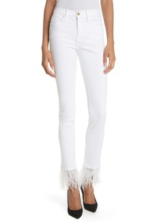 FRAME Le High Straight Feather Hem Jeans (Blanc)