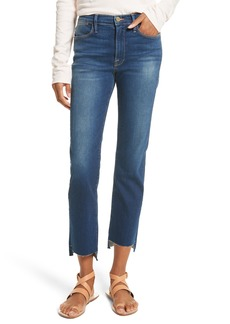 FRAME Le High Straight High Waist Raw Stagger Jeans