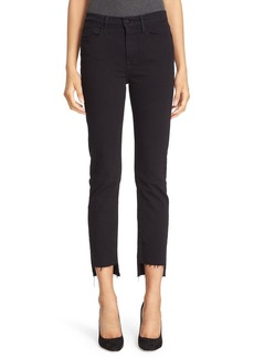 FRAME Le High Straight High Waist Staggered Hem Jeans (Film Noir) (Nordstrom Exclusive)