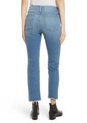 FRAME Le High Straight High Waist Triangle Hem Jeans (White Chapel)