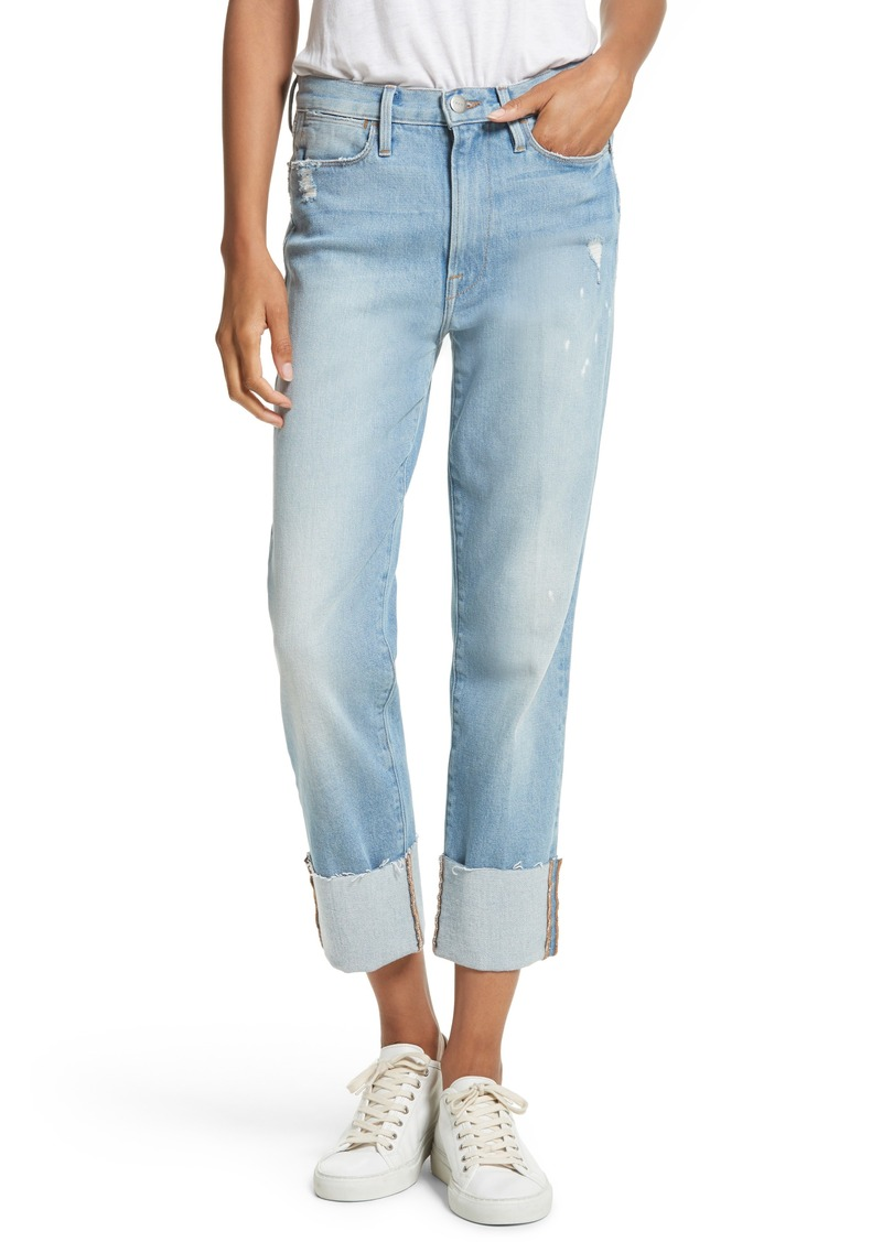 FRAME FRAME Le High Straight Leg Cuffed Jeans (Berkshire