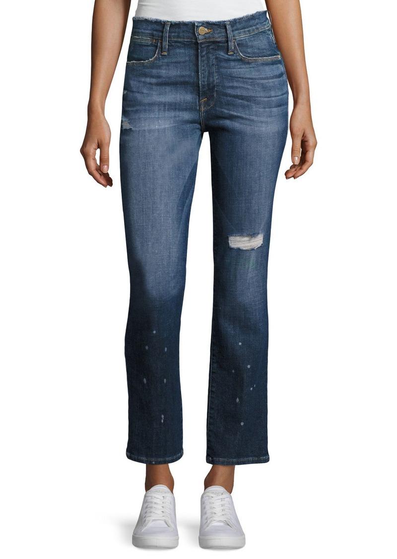 FRAME Le High Straight Leg Frayed Waist Jeans