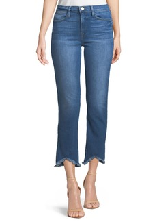 FRAME Le High Straight-Leg Jeans w/ Raw-Edge Triangle Hem