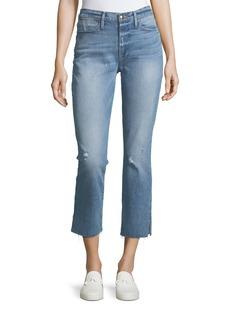 FRAME Le High Straight-Leg Raw-Edge Slit Jeans