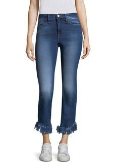 Le High Straight Shredded Hem Jeans