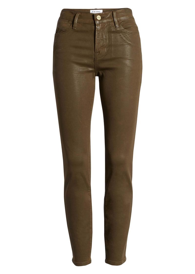 FRAME Le High Waist Coated Skinny Jeans