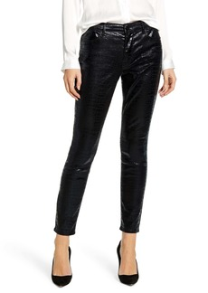 FRAME Le High Waist Croc Embossed Skinny Pants
