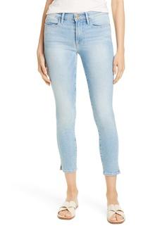 FRAME Le High Waist Crop Slit Hem Skinny Jeans (Ocean Ridge)